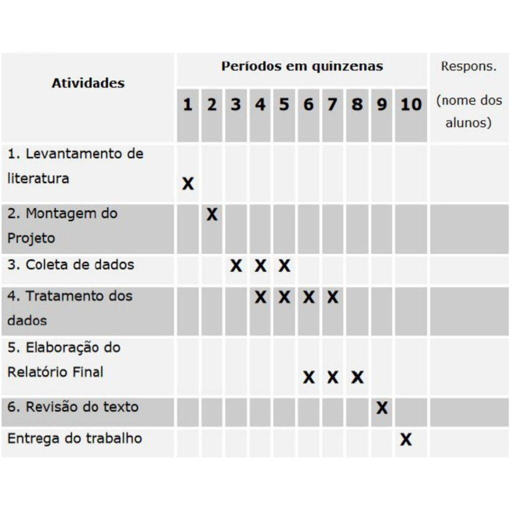 Cronograma assinalado com X